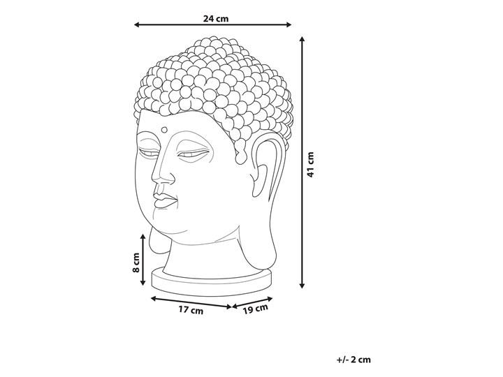 Figura dekoracyjna biała stojąca głowa Buddy 41 cm Rośliny Tworzywo sztuczne Ludzie Kolor Biały