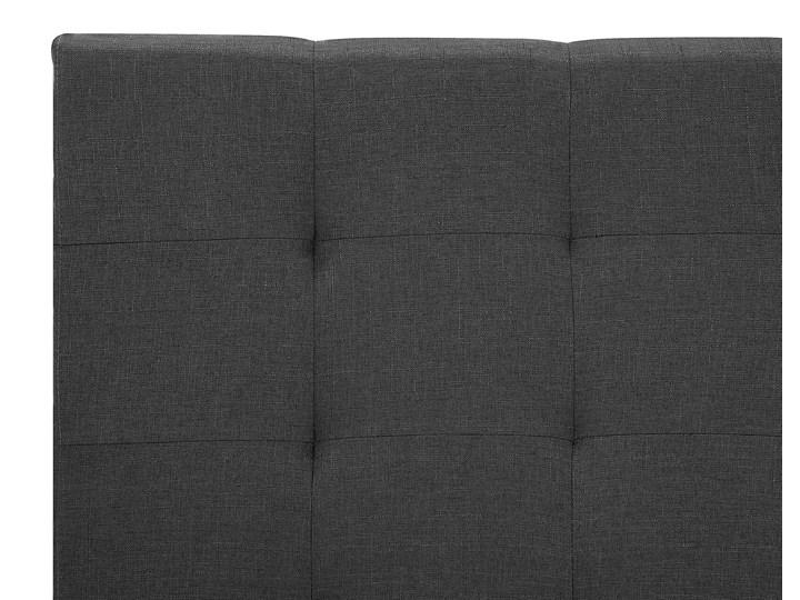 Łóżko ciemnoszare tapicerowane 160 x 200 cm z pojemnikiem i stelażem pikowany zagłówek Kategoria Łóżka do sypialni Łóżko tapicerowane Kolor Czarny