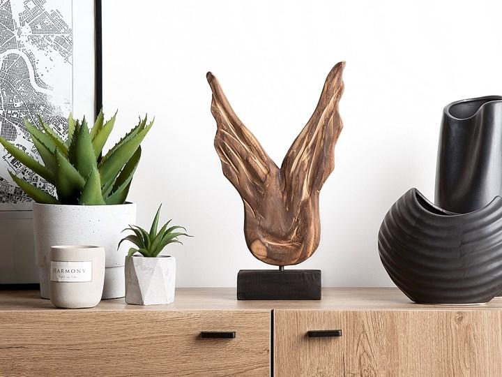 Dekoracja ozdoba figurka drewniana skrzydła czarna podstawa do salonu na kominek Drewno Kategoria Figury i rzeźby Metal Kolor Złoty