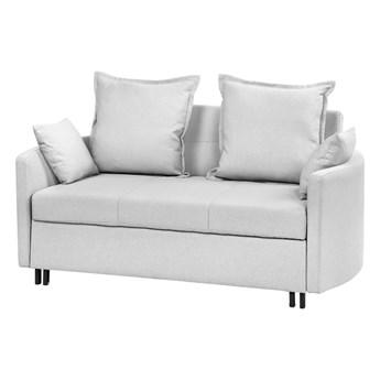 Sofa rozkładana jasnoszara dwuosobowa tapicerowana kanapa nowoczesna do salonu pokoju z funkcją spania metalowe czarne nogi