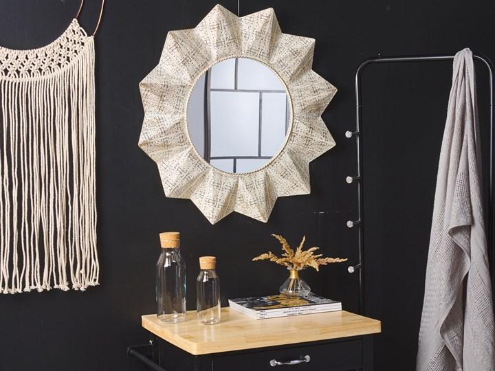 Lustro ścienne wiszące biało-miedziane 72 cm geometryczne słońce gwiazda Lustro z ramą Okrągłe Pomieszczenie Sypialnia
