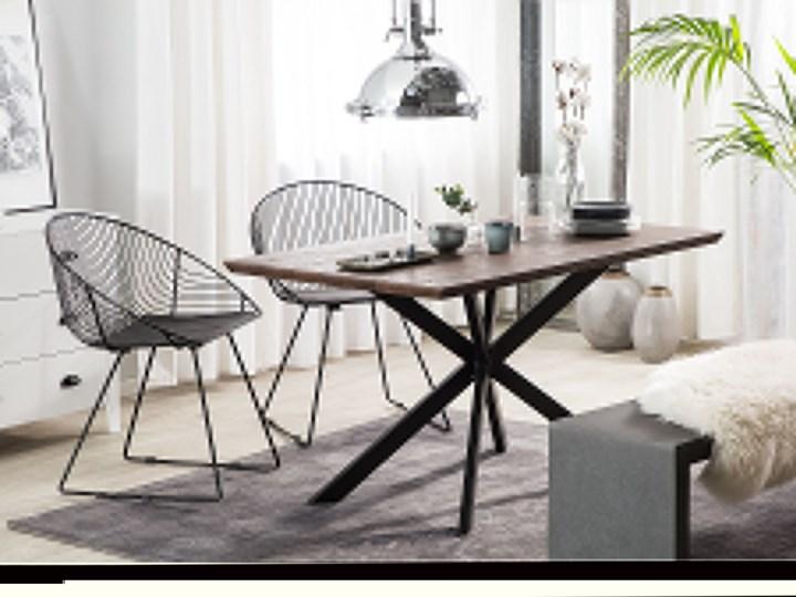 Stół obiadowy ciemny drewniany blat metalowe czarne nóżki prostokątny 140 x 80 cm nowoczesny wygląd Długość 140 cm  Płyta MDF Drewno Styl Industrialny Rozkładanie