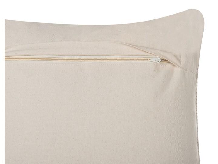 Poduszka dekoracyjna beżowa bawełniana z frędzlami 45 x 45 cm z wypełnieniem ozdobna akcesoria boho retro salon sypialnia 45x45 cm Poszewka dekoracyjna Kwadratowe Bawełna Kolor Beżowy