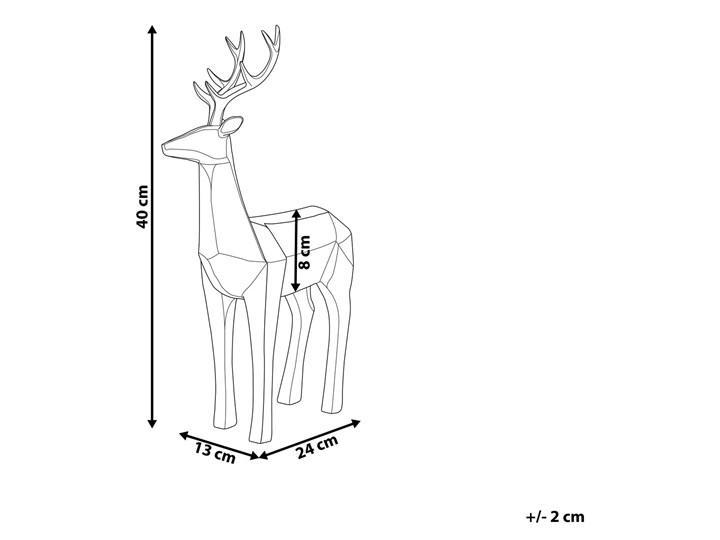 Figurka dekoracyjna renifer biała żywica syntetyczna 40 x 24 cm geometryczna styl skandynawski Zwierzęta Kolor Biały Kategoria Figury i rzeźby