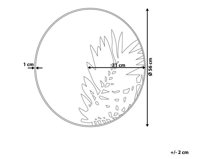 Lustro ścienne wiszące złote okrągłe 56 cm ozdobne kwiat liść dekoracyjne salon przedpokój sypialnia Lustro z ramą Styl Nowoczesny
