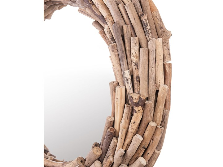 Dekoracyjne lustro ścienne jasne drewno ø 56 okrągłe cm rama styl rustykalny Pomieszczenie Salon Lustro z ramą Kategoria Lustra
