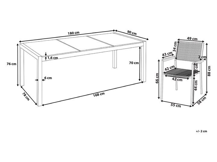 Zestaw mebli ogrodowych jadalniany czarny stół granit/bazalt 180 x 90 cm 6 krzeseł z technorattanu sztaplowanych Stal Stoły z krzesłami Kolor Szary