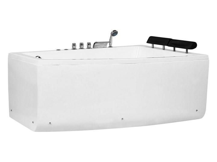 Wanna narożna biała akrylowa 182 x 121 cm lewostronna hydromasaż dysze wodne z zagłówkami