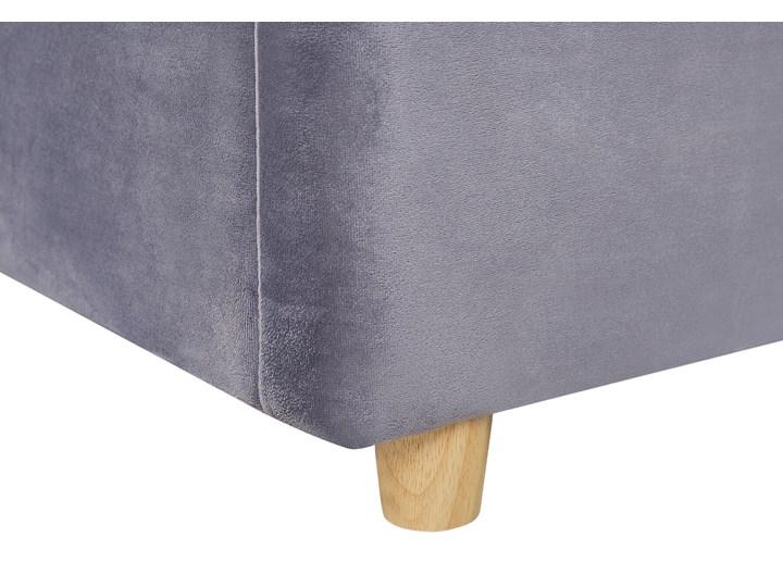 Łóżko z pojemnikiem szare welurowa tapicerka 140 x 200 cm podwójne ze schowkiem podnoszone Łóżko tapicerowane Kategoria Łóżka do sypialni