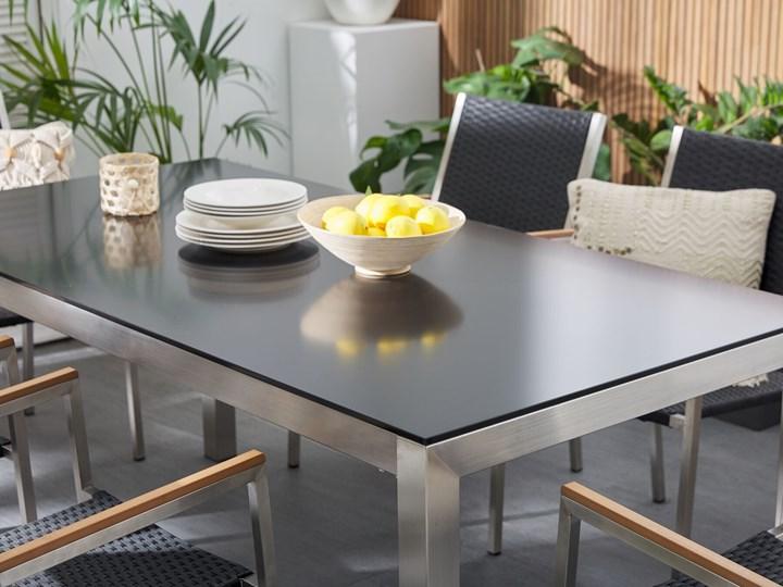 Zestaw mebli ogrodowych jadalniany czarny stół szkło hartowane 180 x 90 cm 6 krzeseł czarnych z technorattanu sztaplowanych Stal Kolor Szary Stoły z krzesłami Kategoria Zestawy mebli ogrodowych