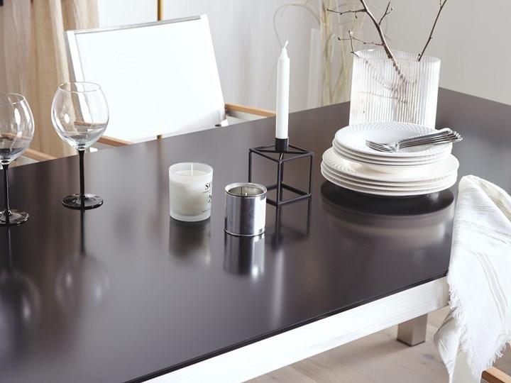 Zestaw mebli ogrodowych jadalniany czarny stół szkło hartowane 180 x 90 cm 6 krzeseł czarnych z technorattanu sztaplowanych Stal Stoły z krzesłami Styl Nowoczesny