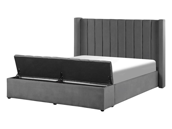 BELIANI Łóżko welurowe z ławką 160 x 200 cm szare NOYERS Łóżko tapicerowane Rozmiar materaca 160x200 cm