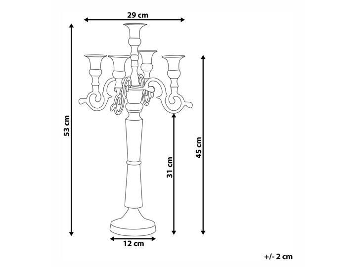 Świecznik dekoracyjny srebrny aluminium 5 ramion Metal Drewno Kategoria Świeczniki i świece