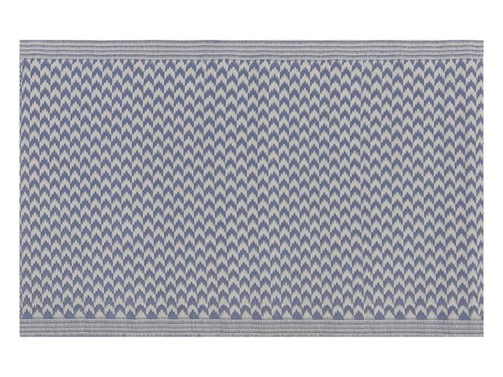 Dywan zewnętrzny granatowy materiał syntetyczny dodatki na balkon prostokątna mata 60 x 90 cm zygzakowaty wzór 60x90 cm Prostokątny Syntetyk Dywany Pomieszczenie Balkon i taras