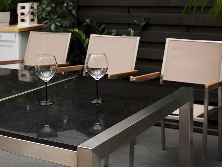 Zestaw mebli ogrodowych jadalniany czarny stół granit/bazalt 220 x 100 cm 8 krzeseł z technorattanu sztaplowanych Stoły z krzesłami Styl Nowoczesny Stal Kategoria Zestawy mebli ogrodowych