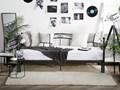 Łóżko czarne metalowe 80/160 x 200 cm ze stelażem wysuwane dodatkowe łóżko nowoczesne Łóżko metalowe Kolor Czarny Kategoria Łóżka do sypialni