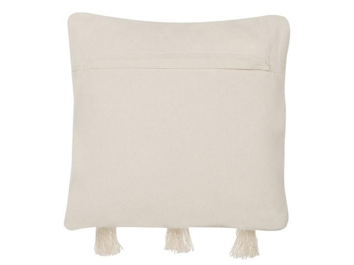 Poduszka dekoracyjna beżowa bawełniana z frędzlami 45 x 45 cm retro z wypełnieniem ozdobna akcesoria salon sypialnia Kolor Beżowy Bawełna 45x45 cm Kwadratowe Kategoria Poduszki i poszewki dekoracyjne