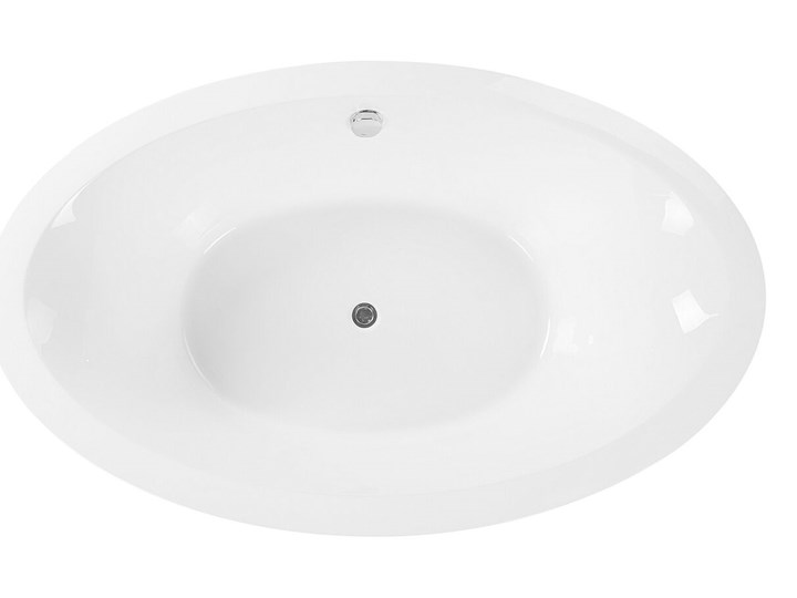 Wanna wolnostojąca biała akrylowa 170 x 105 cm system przelewowy owalna retro Długość 170 cm Kolor Biały Wolnostojące Kategoria Wanny