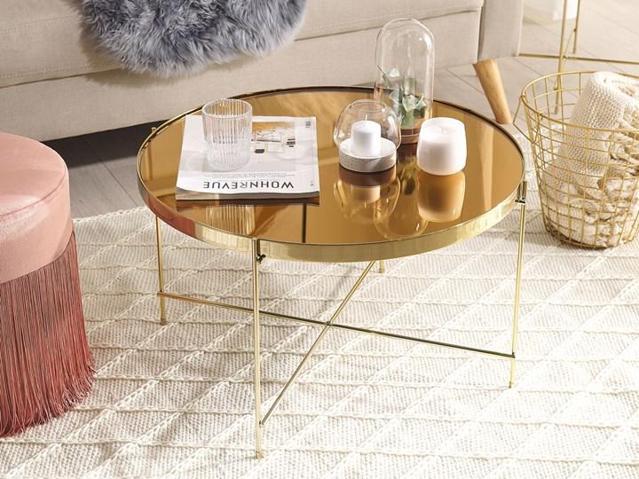 Stolik kawowy złotobrązowy blat z hartowanego szkła złote metalowe nogi okrągły glamour Wysokość 38 cm Szkło Kolor Złoty Styl Nowoczesny