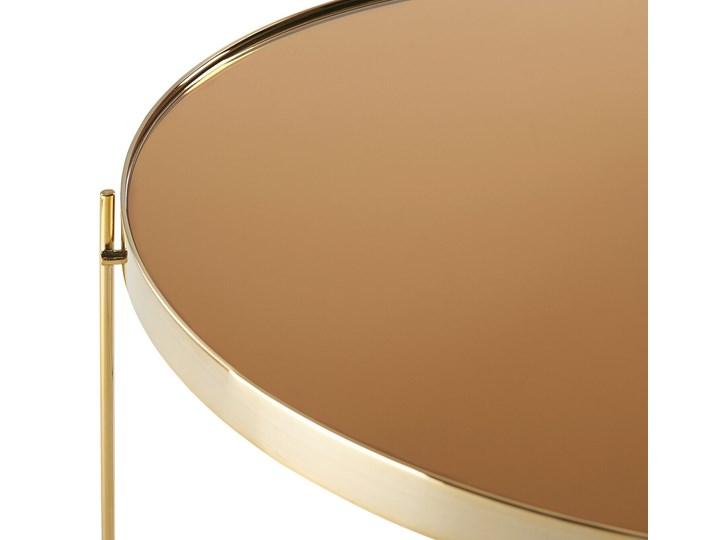 Stolik kawowy złotobrązowy blat z hartowanego szkła złote metalowe nogi okrągły glamour Wysokość 38 cm Styl Nowoczesny Szkło Kształt blatu Okrągłe