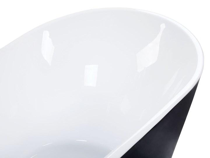 Wanna wolnostojąca czarna akrylowa 170 x 77 cm system przelewowy owalna retro Wolnostojące Kolor Czarny Kategoria Wanny