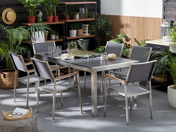 Zestaw mebli ogrodowych jadalniany czarny palony stół granit/bazalt 180 x 90 cm 6 krzeseł tekstylnych sztaplowanych Tworzywo sztuczne Stoły z krzesłami Stal Zawartość zestawu Krzesła