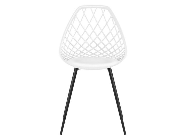 Zestaw 2 krzeseł białych tworzywo sztuczne czarne metalowe nogi styl nowoczesny skandynawski Styl Vintage