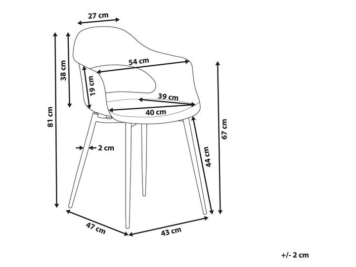 Zestaw 2 krzeseł czarnych plastikowych nóżki jasne drewno ozdobne do jadalni styl skandynawski Tworzywo sztuczne Wysokość 81 cm Głębokość 47 cm Metal Szerokość 54 cm Styl Industrialny