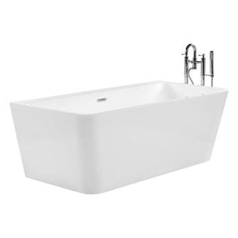 Wanna biała akrylowa 170 x 80 cm system przelewowy prostokątna minimalistyczny design