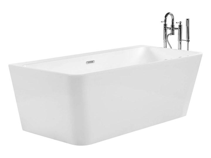 Wanna biała akrylowa 170 x 80 cm system przelewowy prostokątna minimalistyczny design Symetryczne Kolor Biały