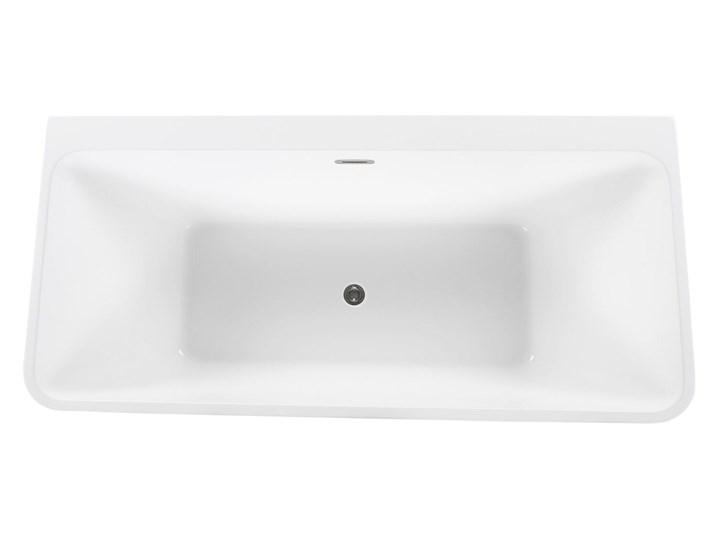 Wanna biała akrylowa 170 x 80 cm system przelewowy prostokątna minimalistyczny design Symetryczne Kolor Biały Kategoria Wanny