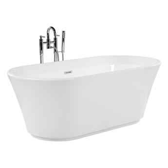 Wanna wolnostojąca biała akrylowa 170 x 79 cm owalna minimalistyczny design