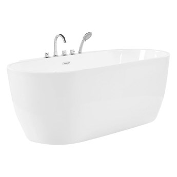 Wanna wolnostojąca biała akrylowa 170 x 80 cm system owalna minimalistyczny design