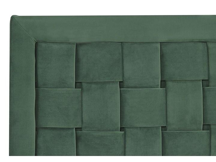Łóżko welurowe zielone 160 x 200 cm tapicerowane złote nóżki wezgłowie oparcie glamour nowoczesne Kolor Zielony Łóżko tapicerowane Kolor Złoty