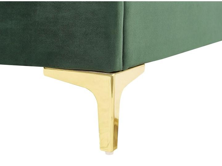 Łóżko welurowe zielone 160 x 200 cm tapicerowane złote nóżki wezgłowie oparcie glamour nowoczesne Łóżko tapicerowane Kolor Złoty