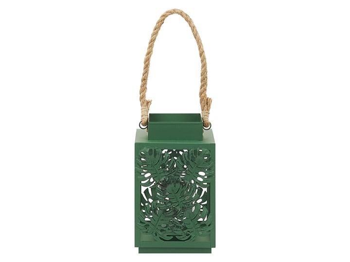 Lampion w liście zielony metalowy 25 cm ze szklanym wkładem na świeczkę dekoracja Szkło Świecznik Kategoria Świeczniki i świece