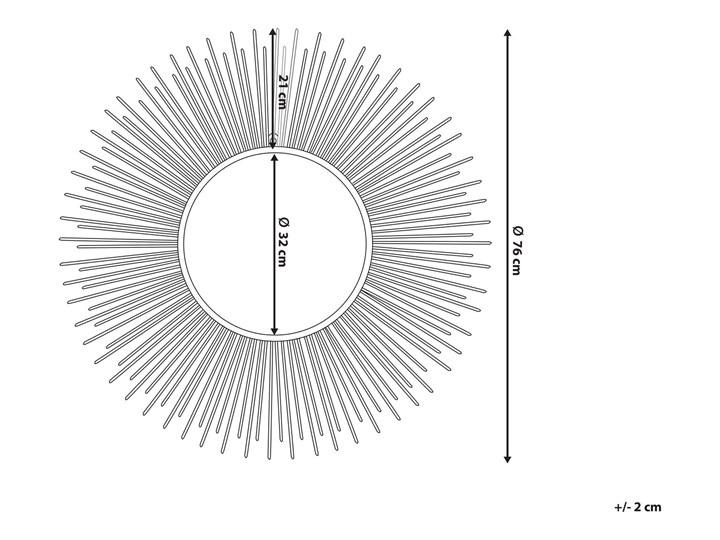 Lustro wiszące ścienne srebrne 80 cm okrągłe metalowe promienie słońca Lustro z ramą Styl Nowoczesny Kolor Srebrny