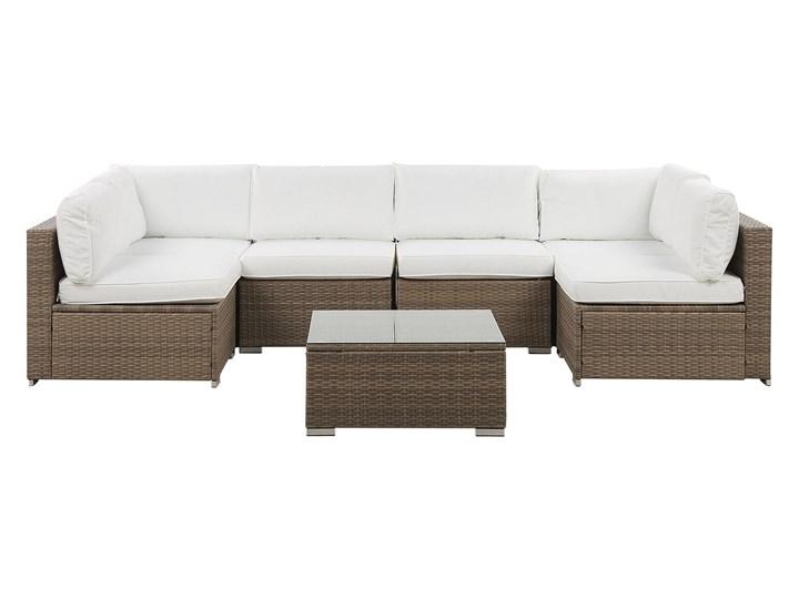 Zestaw mebli ogrodowych brązowy technorattan białe poduszki 6-osobowa sofa narożna stolik kawowy ze szklanym blatem Zestawy modułowe Aluminium Kolor Biały Zestawy wypoczynkowe Zestawy kawowe Zawartość zestawu Narożnik