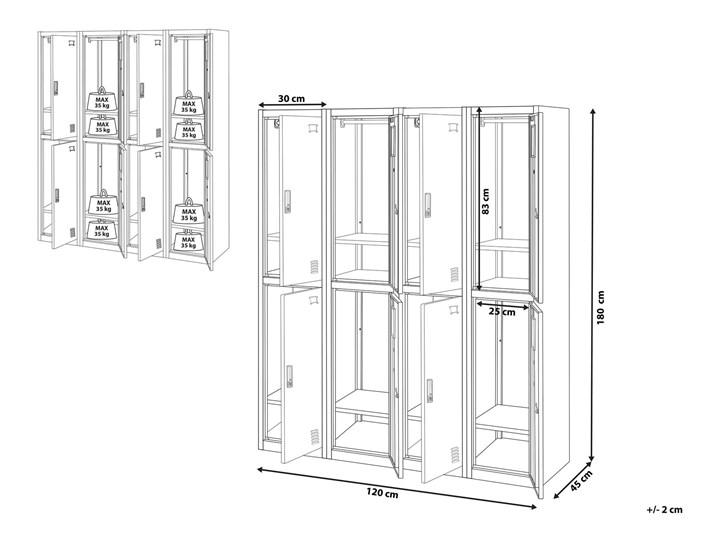Szafa ubraniowa czarna metalowa 120 x 45 x 180 cm 4 x podwójne drzwi na kluczyk z półkami Kolor Czarny