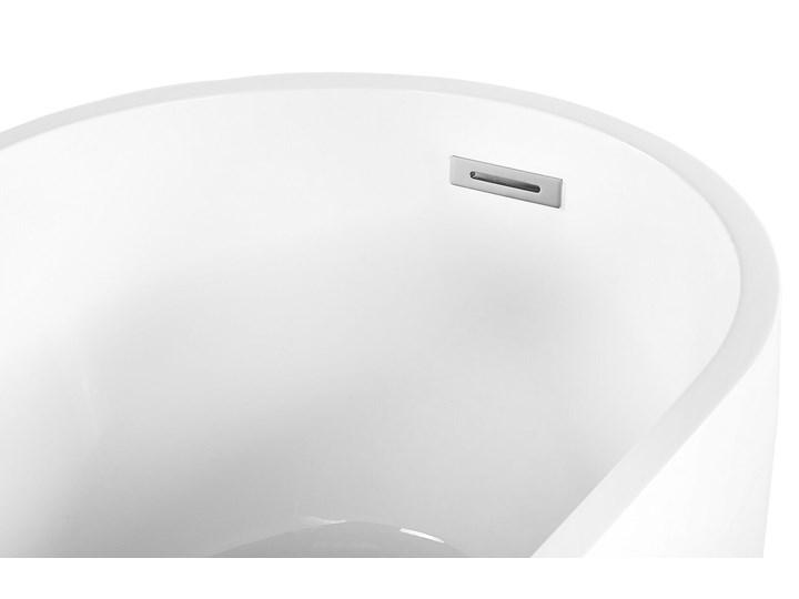 Wanna wolnostojąca biała akrylowa 170 x 78 cm system przelewowy owalna współczesna Kolor Biały Wolnostojące Kategoria Wanny