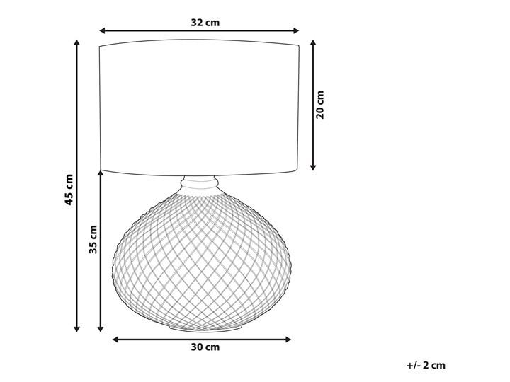 Lampa stołowa złota biała 55 cm szklana podstawa wysoki połysk glamour Lampa z abażurem Lampa nocna Kolor Biały