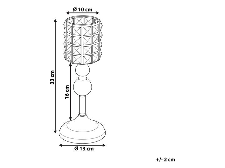 Świecznik srebrny szklany 33 cm z kryształkami Szkło Metal Kategoria Świeczniki i świece