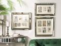 Multiramka srebrna lustrzana 32 x 50 cm na zdjęcia 3 fotografie 10 x 15 cm kolaż wisząca Pomieszczenie Sypialnia Kategoria Ramy i ramki na zdjęcia