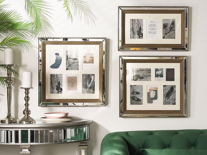 Multiramka ciemne drewno drewniana lustrzana 50 x 50 cm na zdjęcia 6 fotografii 10 x 15 cm kolaż wisząca Pomieszczenie Salon
