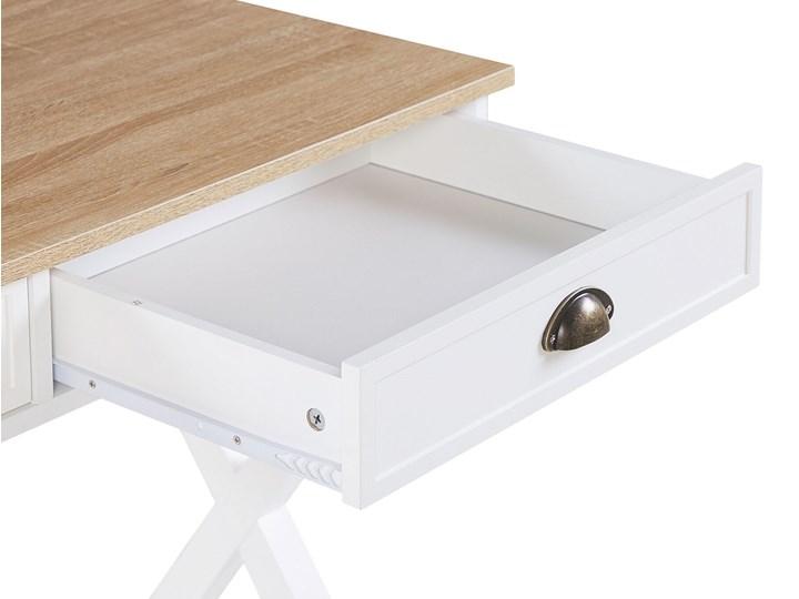 Biurko białe z jasnym blatem MDF 103 x 50 cm z szufladami małe skandynawski Płyta MDF Sosna Drewno Pomieszczenie Biuro
