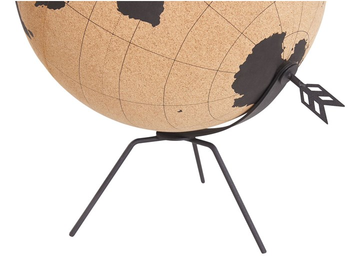 Figurka dekoracyjna globus brązowy korek 25 cm Globusy Metal Kategoria Figury i rzeźby Kolor Czarny