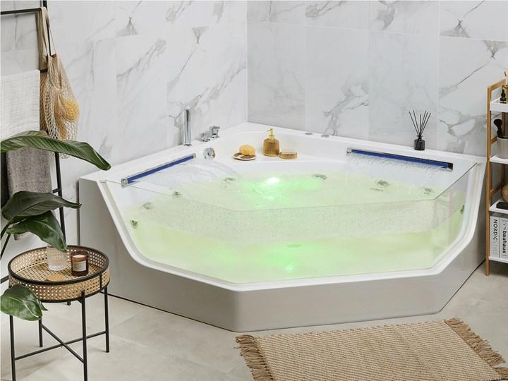 Wanna narożna biała LED hydromasaż system nowoczesna dla 2 osób Kolor Biały Akryl Stal Kategoria Wanny