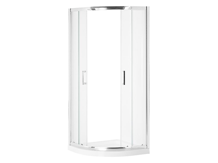 Kabina prysznicowa srebrna szkło hartowane aluminum podwójne drzwi półokrągłe 90x90x185cm nowoczesny design Narożna Kategoria Kabiny prysznicowe