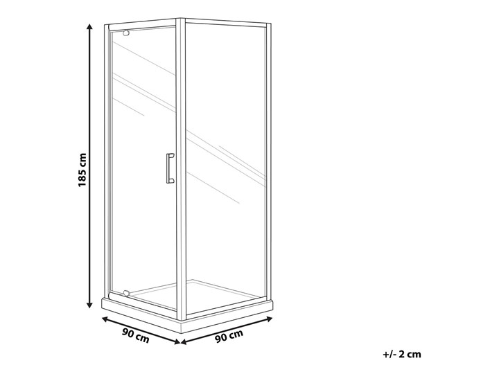 Kabina prysznicowa srebrna szkło hartowane aluminum pojedyncze drzwi 80 x 80 x 185 cm nowoczesny design Kwadratowa Kategoria Kabiny prysznicowe