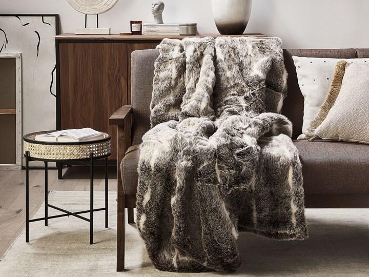 Koc brązowo-biały akrylowy 150 x 200 cm gruby retro styl dekoracje do salonu dodatki 150x200 cm Pomieszczenie Sypialnia Poliester Kolor Brązowy